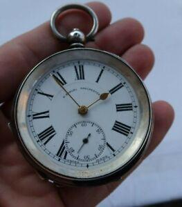 """Vintage Antique 2"""" Sterling Silver Key Wind Pocket Watch H. Samuel Manchester NR"""