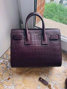 Saint Laurent Baby Sac de jour YSL in burgundy croco embossed leather luxury bag