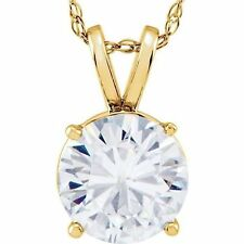1 carat Round cut Solitaire Diamond H SI2 stud Pendant 14k Yellow Gold Necklace