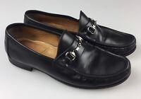 Allen Edmonds Verona Men's 9 D Black Horse Bit Leather Dress Loafers Italy