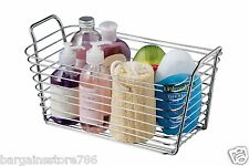 Chrome Storage Caddy Tidy Stand Bathroom Toilet Easy Carry with Handles Silver