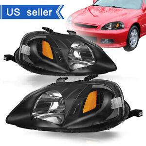 For 1999-2000 Honda Civic Replacement Black Housing Amber Corner Headlights Lamp