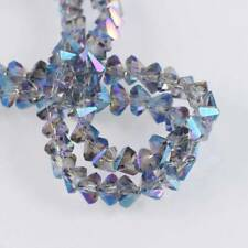 100pcs 6mm Blue Colorized Triangle Diamond Faceted Crystal Glass Loose Beads lot