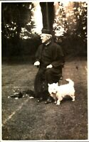 Portrait clergy man dog cat RPPC postcard antique real photograph