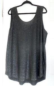 Ladies Plus Size Next Black/Silver Longline  Vest Top Size 22 Pre Worn