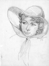 ARTISTE PEINTRE BAUGNIET ? DESSIN ORIGINAL PORTRAIT DE FEMME 1959 ?