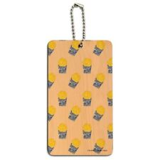 Floral French Fries Pattern Wood Luggage Card Suitcase Carry-On ID Tag