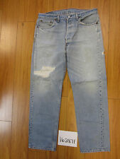 used Levis 501 destroyed feathered grunge USA jean tag 38x34 meas 35x30.5 16287F