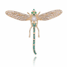 d7f3e3c47a24 Broche Dorado Libélula Insecto Fino Verde Esmeralda Antiguo Estilo Clase  Retro