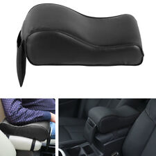 1x Black Car Center Console Armrest Box Cushion Pad with Phone Pocket PU Leather