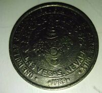 One Dollar Gaming Token Circus Hotel Casino Las Vegas Nevada 1989 Clown Silver