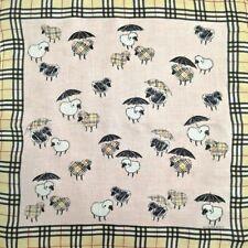 "Handkerchief NeckScarf Pink Beige Novacheck Sheep Leaf Jacquard Cotton19"""