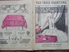 """CATALOGUE MODE """" AUX TROIS QUARTIERS """" EXPOSITION DE BLANC 1914"""