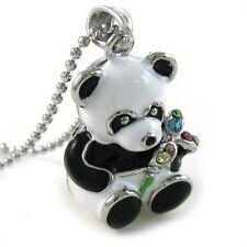 Multicolor Flower Panda Bear Necklace Rhinestone Designer Chain Charm Pendant