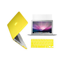 "3 in 1 Rubberized YELLOW Case for Macbook PRO 13"" + Keyboard Cover + LCD Screen"