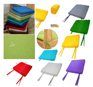 Chair Cushion Seat Pads WATERPROOF REMOVABLE COVER Tie On Garden Outdoor Patio