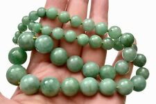 Old Chinese 14K Gold Natural Jade Jadeite Carved Carving 13mm Bead Necklace