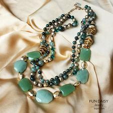 Collar Múltiples elementos Niveles Perla de Piedra ágata Verde Super Regalo ST