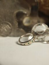 GENUINE / SOLID - 18K WHITE GOLD LADIES NATURAL EMERALD & DIAMOND RING !