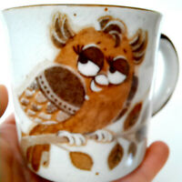 Vintage Owl Coffee Cup Mug Brown Girl Owl 70's Retro ~ Crazing