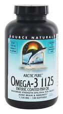 Arctic pure Omega-3 1125  Enteric Coated Source Naturals Fish Oil. 120 Softgel