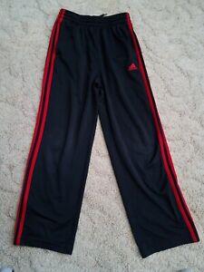 ADIDAS 3 Stripe Vintage Track Gym Pants Black Red Athletic Youth Size Medium GUC