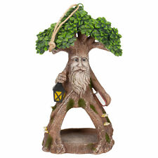 Old Man Tree with Lantern and Book 11.5x5 Resin Hanging Outdoor Bird Feeder