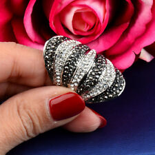 Wide Rings Fashion Jewelry White Gold Vintage Black White Cubic Zirconia Big