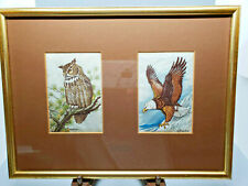 Vintage J&J Cash Woven Silk Birds Tapestry - Bald Eagle Great Horned Owl England