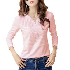 Women's Fashion Cotton Embroidery Blouse Long Sleeve Blouses Casual Shirt Top 0g M Pink