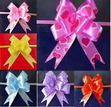 50/ LARGE Ribbon Bows assorted colours easy pull flower ribbon party decorations