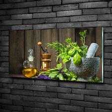 Glas-Bild Wandbilder Druck auf Glas 100x50 Essen & Getränke Kräuter in Mörser