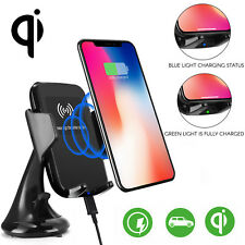 Wireless Car Holder + 2 USB Port Charger for Samsung Galaxy S10 Apple iPhone 11