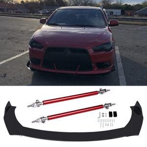 For Mitsubishi Lancer Evo X 10 Front Bumper Lip Spoiler Splitter + Strut Rods US