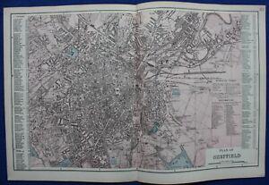SHEFFIELD, CITY PLAN, STREET PLAN, original antique map, Bacon, 1884