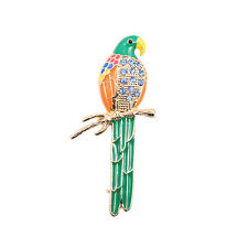 Broche Doré Perroquet Oiseau Email Vert Orange Vintage Original XZ2