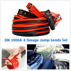 2m 4 Gauge 1000a Heavy Duty Jumper Battery Booster Cables Wire Clip For Car Suv