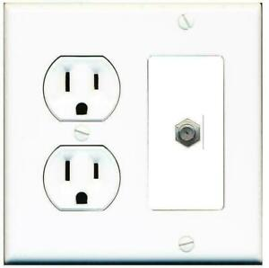 2 Gang 15 Amp Duplex Round Power Outlet COAX Cable TV Coupler Wall Plate