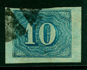 BRAZIL 1854  COLORIDOS  10r blue  Scott # 37  used  XF