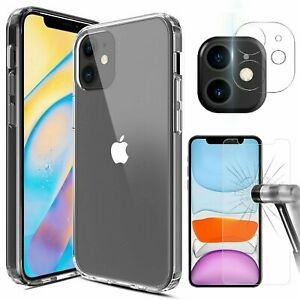 For iPhone 12/Pro/Max/Mini 5G Case Clear Slim Cover Camera Lens Screen Protector
