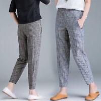 Women Elastic High Waist Striped Bottom Pants Office Work Loose Straight Trouser