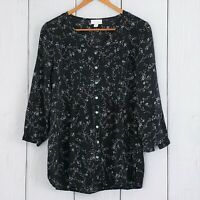 J. JILL sz XS Black Floral Button Down Peasant Blouse 3/4 Sleeves Tunic Top