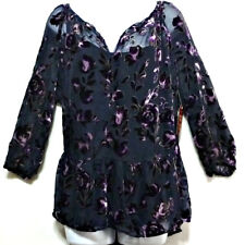 c69ca116a27bfe New+Tags Faded Glory Ladies Navy   Lilac Velvet Print Shirt Set 2XL (20