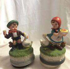 Original ArtMark Japan Musical Figurines Ceramic Boy with Duck & Girl with Duck