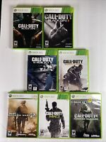 CALL OF DUTY Black Ops1 & 2+ Ghosts + MW2 / 3 / 4 & AW : Xbox 360 Lot of 7 Games