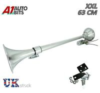 King Size 12v 24v Chrome Air Horn Pickup Boat Truck Lorry Wagon Tractor 139db
