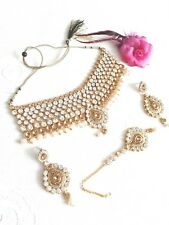 New Indian Costume Jewellery Necklace Choker  Set Pearl Design Wedding Wear