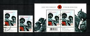 CANADA Scott's 2341, 41a, 42 ( S/S ) National War Memorial F/VF Used ( 2009 ) #4