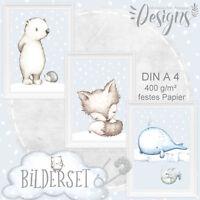 Kinder Baby Zimmer Bild er Tiere Teddy Poster Tierbild Bilder Set DIN A4  SET19