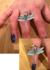 Pewter Dragonfly on a Silver Adjustable Ring Dangle Charm code C3 Dragonfly